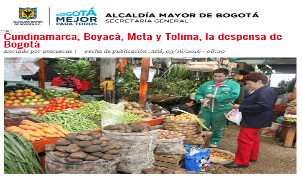 Cundinamarca, Boyacá, Meta y Tolima, la despensa de Bogotá