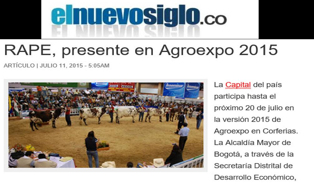 RAPE, presente en Agroexpo 2015