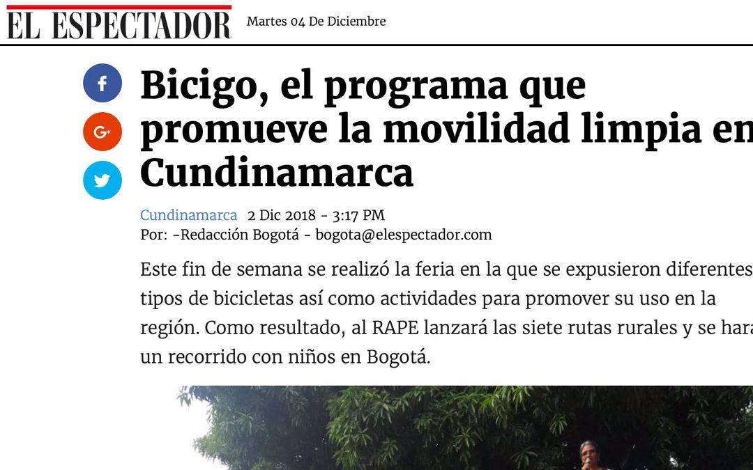 Elespectador.com – 02/12/2018 – Bicigo, el programa que promueve la movilidad limpia en Cundinamarca