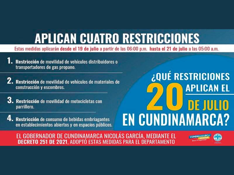 RESTRICCIONES A LA MOVILIDAD PARA ESTE MARTES 20 DE JULIO
